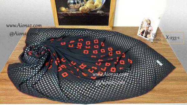 روسری حریر مجلسی سیمارو کد x-233-1 نمای بالا