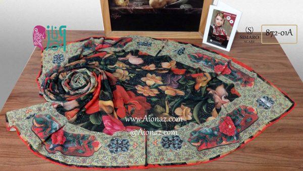 روسری حریر مجلسی سیمارو کد 872-01A نمای بالا