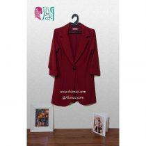 کت تک دکمه بلند مجلسی مانتویی رنگ قرمز