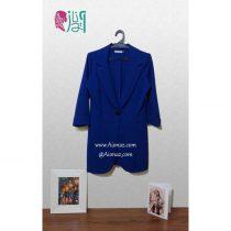کت تک دکمه بلند مجلسی مانتویی رنگ آبی لاجوردی
