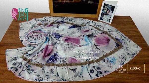 روسری حریر مجلسی سیمارو کد 1288-01 نمای بالا