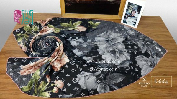 روسری حریر مجلسی سیمارو کد K-6164 نمای بالا