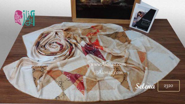 روسری نخی پاییزه سلنا طرح مثلثی نمایث باز