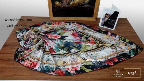 روسری حریر مجلسی سیمارو طرح 1375A نمای بالا