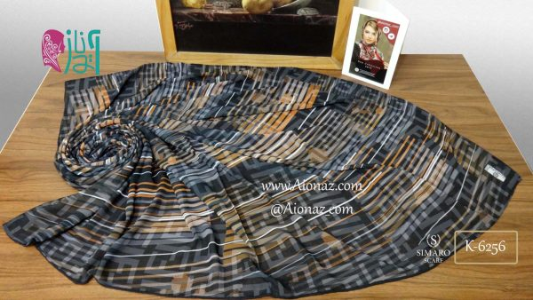 روسری حریر مجلسی سیمارو کد K-6256 نمای بالا