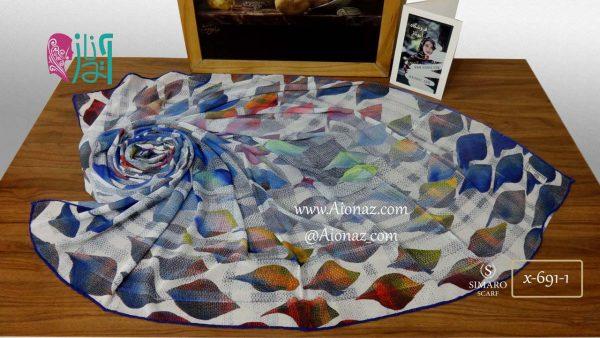روسری حریر مجلسی سیمارو کد X-691-1 نمای بالا