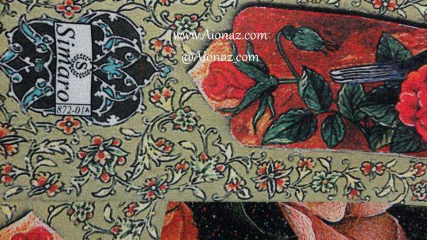 روسری حریر مجلسی سیمارو کد 872-01A نمای نزدیک