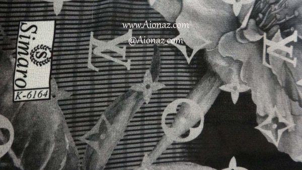 روسری حریر مجلسی سیمارو کد K-6164 نمای نزدیک
