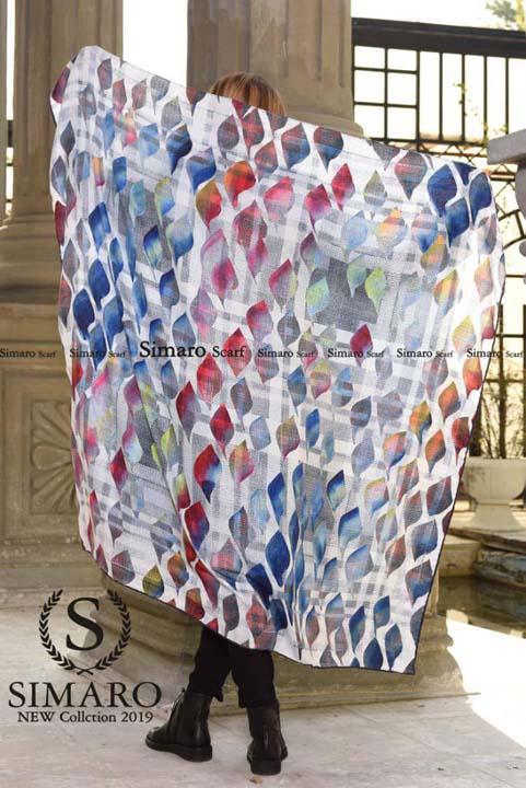 روسری حریر مجلسی سیمارو کد X-691-1 نمای باز