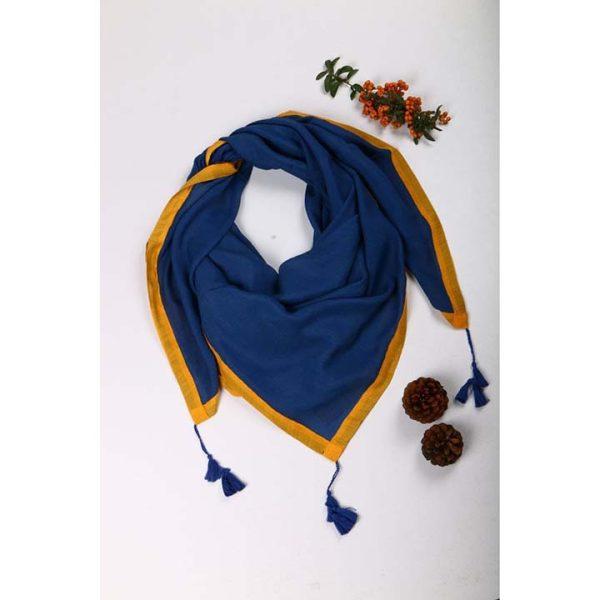 خرید عمده روسری اسلپ دورقاب رنگ آبی