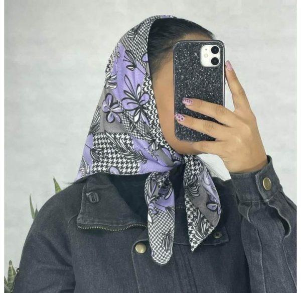 خرید عمده روسری نخی قواره کوچک گلدار