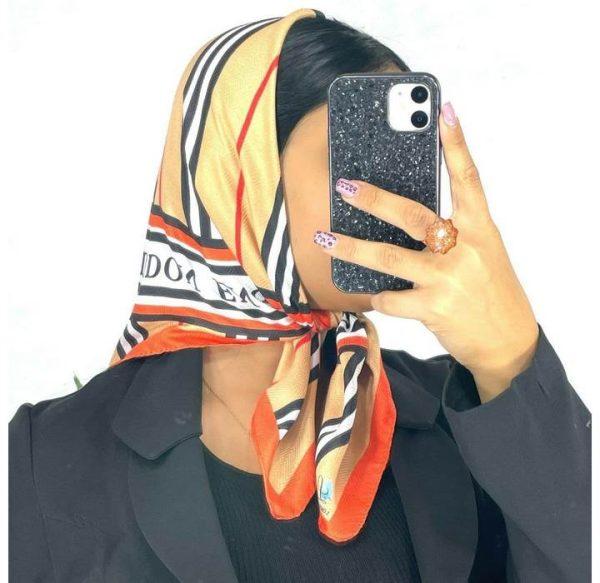 خرید عمده روسری نخی قواره کوچک نارنجی