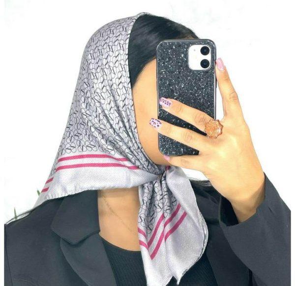 خرید عمده روسری نخی قواره کوچک طوسی